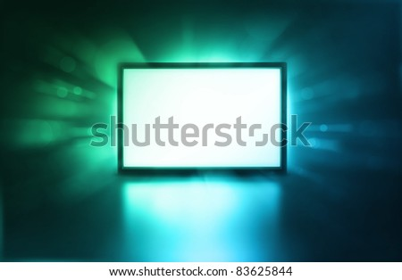 Presentation screen, LCD monitor with space for your image - stock photo