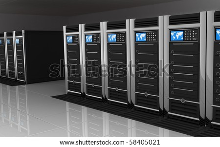 presentation server-room of the server on earth - stock photo