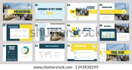 Presentation template. Elements for slide presentations. Use also as a flyer, brochure, corporate report, marketing, advertising, annual report, banner. Yellow,blue. #1343838299