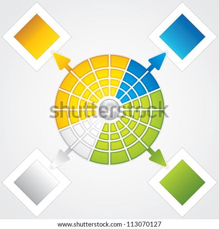 Presentation Template with four colored text box.Business background