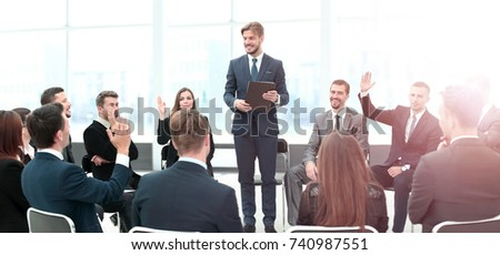 Presentation to the large number of people. Communication with e #740987551