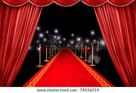 Presentation with red carpet and photographer