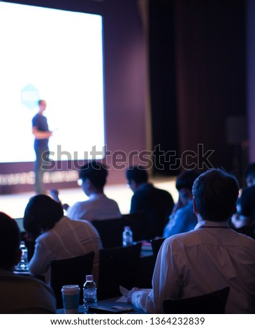 Presenter Presenting Business Presentation. Conference Speaker Photo. Tech Seminar Discussion. Executive Manager at Venture Capital Investor Pitch Forum. Corporate Technology Business Entrepreneurs.