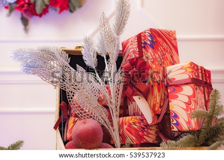 Presents and Gifts under Christmas Tree, Winter Holiday Concept #539537923