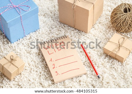 Presents for Christmas - wish list with gift boxes #484105315