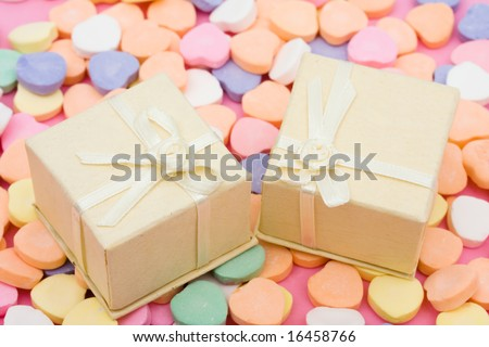 Presents on candy hearts, love to give gifts