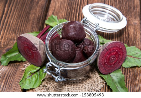 Preserved Beet on wooden background