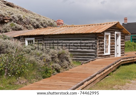 Preserved log cabin in South Pass City State Historic Site in Wyoming