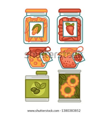 Preserves or preserved food jars bottles, jams and pickles  icons