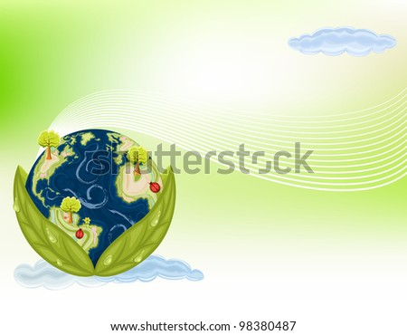 Preserving Nature - planet Earth inside green leaves. Ecology concept.