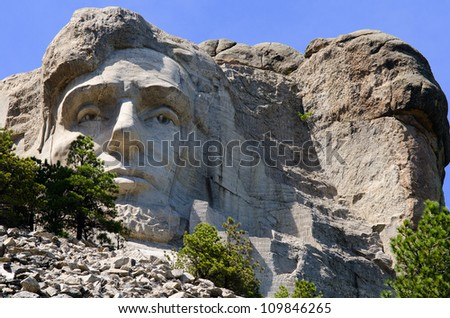 President Abraham Lincoln at Mount Rushmore National Memorial in the Black Hills near Keystone, South Dakota, USA - stock photo
