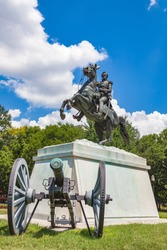 President and Major General Andrew Jackson sculpture across from the White House in Lafayette Square in Washington, DC. Sculpted by Clark Mills in 1853. Depicts Jackson on horseback.