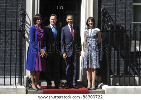 President Barak Obama and wife Michelle meet David Cameron and his wife, Samantha at No.10 Downing Street, London. 24/05/2011  Picture by: Steve Vas / Featureflash