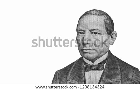 President Benito Juarez Portrait from Mexico 50 Pesos 1981 Banknotes. An Old paper banknote, vintage retro. Famous ancient Banknotes. Collection.