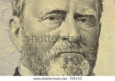 president grant face on the fifty dollar bill