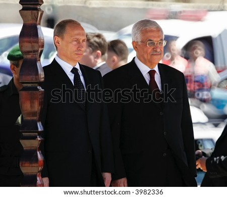 President of Russia Vladimir Putin and President of  of Palestinian National Authority Mahmoud Abbas - stock photo