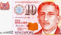 President Portrait from Singapore 10 Dollars 2005 Banknotes. An Old paper banknote, vintage retro. Famous ancient Banknotes. Collection