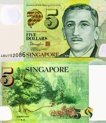 President Portrait from Singapore 5 Dollars 2007 Polymer Banknotes. An Old Polymer banknote, vintage retro. Famous ancient Banknotes. Collection.