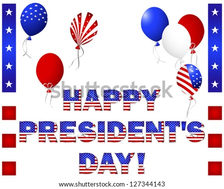 President's Day. Beautiful text and balloons with the pattern of the American flag on white.  Raster version.
