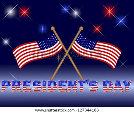 President's Day. Beautiful text with the pattern of the American flag on a festive background with flags.  Raster version.
