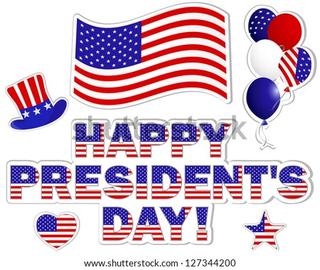 President's Day stickers with a beautiful text, hat, flag and balloons.   Raster version.