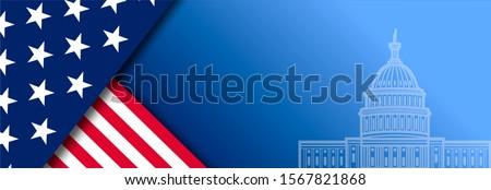 Presidental election banner with USA symbols. Presidental election 2020. Election banner Vote 2020 with Patriotic Stars. Stockfoto ©