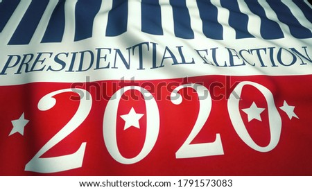 presidential campaign 2020, waving flag with USA colors, stars and stripes, election 2020 in United States 3d illustration