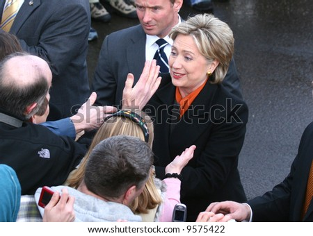 presidential candidate Hillary Clinton surrounded by supporters at a rally in Spokane washington