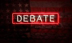 Presidential Election Political Graphic Art Neon Sign Debate