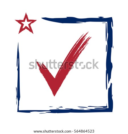 Presidential election USA sign with swoosh. Blue and red design on white background for voting campaign. Vote patriotic mark. Symbol of political, patriotism. illustration