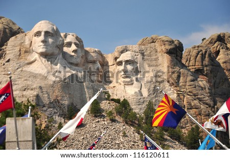 Presidential Faces on Mt Rushmore Seen From Viewing Deck , South Dakota