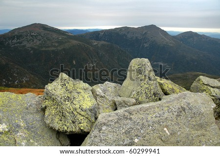 Presidential Range View from the Top of Mt Washington in New Hampshire