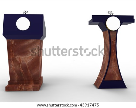 Presidential speech lecturn podium, with blank space for logo, isolated