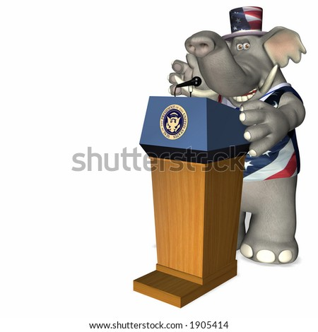 Presidential Speech Represented by a Republican Political Elephant