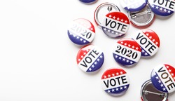 Presidential US election 2020, Red, white, and blue vote buttons isolated on white background, copy space