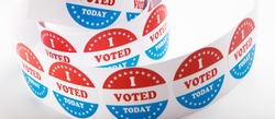 Presidential US election 2020, vote stickers roll isolated on white background, panorama