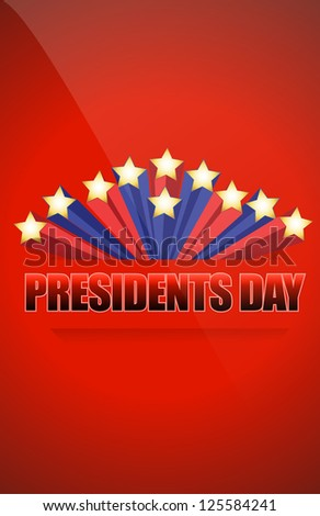 Presidents day sign illustration design over a blue background