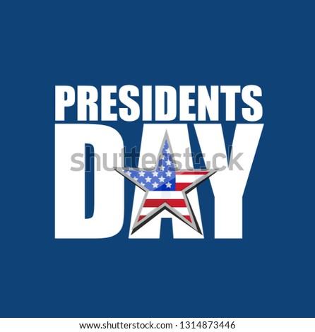 Presidents day US flag star text icon illustration design isolated over blue background