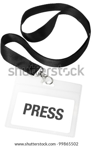 Press badge or ID pass isolated on white background, clipping path included