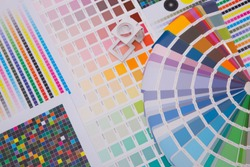 Press color management. Cmyk stripe loupe and color palettes. Commercial printing.