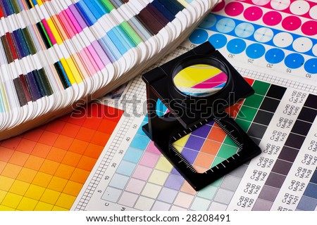 Press color management - print production - stock photo