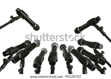 Press conference microphones isolated on white