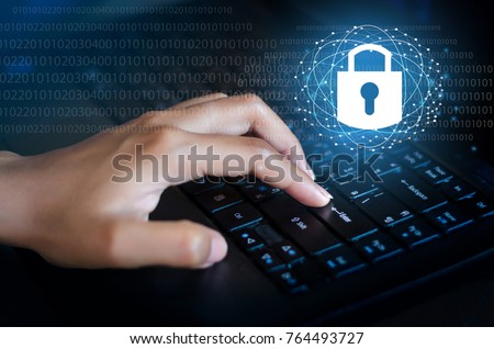 Press enter button on the computer. Key lock security system abstract technology world digital link cyber security on hi tech Dark blue background, Enter password to log in. lock finger Keyboard #764493727