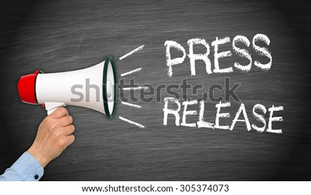 Press Release - female hand with megaphone and text