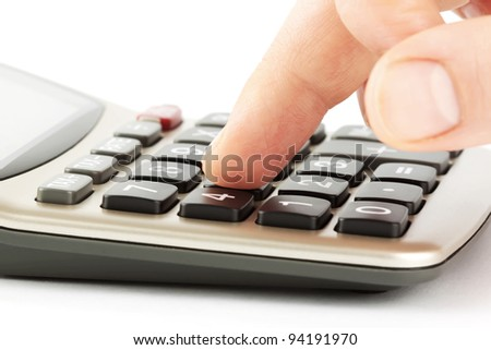 Press the right button. Calculator with finger