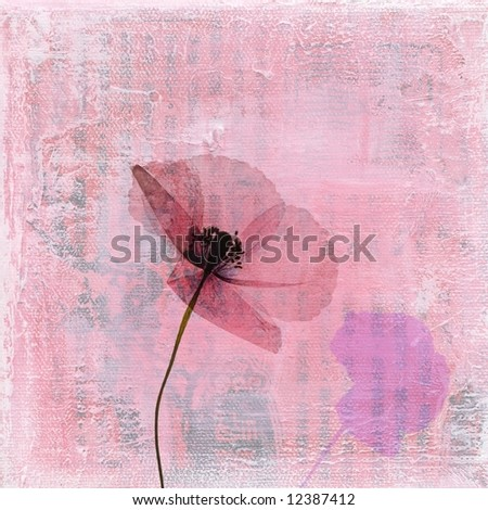 Pressed poppy flower on abstract textured art background. Art and content is created and painted by photographer.