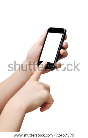 Pressing a button on a smart phone, touch screen, clipping path