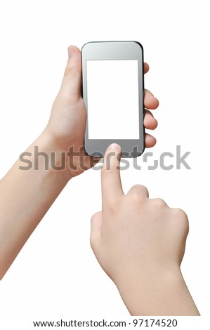 Pressing a button on smartphone, touch screen, clipping path