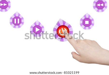 Pressing power icon button on touch screen