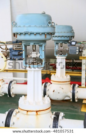 Pressure control valve in oil and gas process and controlled by Program Logic Control, PLC controller the valve and control instrument gas supply to actuator of the valve as PLC command. #481057531